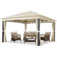 TOOLPORT Gartenpavillon 4x4m ALU Premium ca. 220g/m² Dachplane wasserdicht Pavillon 4 Seitenteile Gartenzelt Champagner 9x9cm Profil