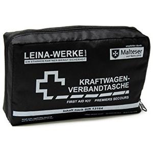 Leina Werke 11006 KFZ-Verbandtasche Compact mit Klett, Schwarz/Weiß
