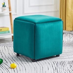 WLWLEO 5-in-1 Multifunktions Cube Hocker Ottoman Fußbank Mobile Hocker mit 4 Rollen Polsterkosmetiktisch Hocker Sofas Hocker Schuh Ändern Hocker,Grün