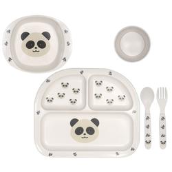 Kindsgut Kindergeschirr-Set Geschirrset (4-tlg), Melamin, Kinder-Geschirr, Besteck, Panda, Ess-Set aus Gabel, Löffel, Teller, Schale und Becher, unisex, umweltfreundlich weiß