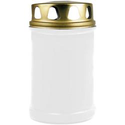 HS Candle Grabkerze (1-tlg), Grabkerze Grablicht Grableuchte mit goldenem Deckel weiß