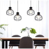 ETC Shop etc-shop LED Pendelleuchte, Decken Pendel Leuchte höhenverstellbar Käfig Spot RETRO Filament Hänge Lampe schwarz im Set inkl. LED Leuchtmittel