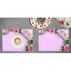 Platzset, Tischset I Platzset - Blumen - Rosen mit Geschenk - 12 Stück aus hochwertigem Papier in Aufbewahrungsmappe, perfekt für Frühlingsdekoration, Tischsetmacher, (12-St)