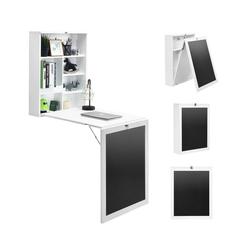 COSTWAY Klapptisch Wandtisch, klappbar, Wandklapptisch aus MDF, Bartisch mit Tafel, Schreibtisch multifunktional, Esstisch, Küchentisch, Computertisch, Klappschreibtisch, Laptoptisch weiß