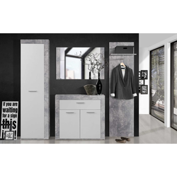 Forte Garderobe Zumba in Beton-Optik/weiß