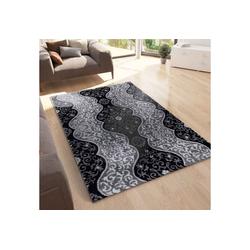 Teppich Teppich Wohnzimmer Teppich mit Glitzer Abstrakt USED Optik in Anthrazit, Vimoda 120 cm x 170 cm