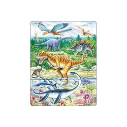 Larsen Puzzle Rahmen-Puzzle, 35 Teile, 36x28 cm, Dinosaurier, Puzzleteile