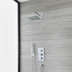 UP Thermostat mit 20x20cm Wand-Duschkopf & Handbrause – Chrom - Arcadia