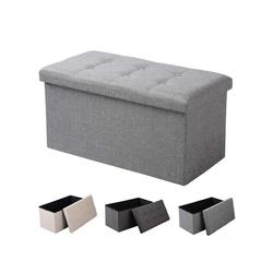 Woltu Sitzhocker, Sitzhocker -Fußhocker- mit Stauraum SH10 grau