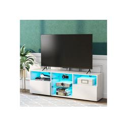 PHOEBE CAT Lowboard, TV-Board TV Schrank Fernsehtisch Fernsehschrank TV Tisch Unterschrank mit 16-Farben-LED-RGB-Leuchten weiß