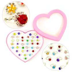 36 Kinder Ringe in Herzform Box Einstellbar Kindergeburtstag Geschenk Mitgebsel