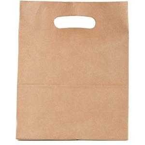 Kraft Papier Tragetaschen mit Henkel, Braun, Umweltfreundliches Papier, Sicherheitskleber, 28 x 15 x 28 cm, 90 gr, 50 Stück
