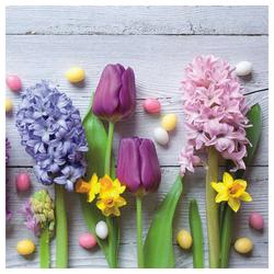 Linoows Papierserviette 20 Servietten Hyazinthen, Narzissen, Tulpen und, Motiv Hyazinthen, Narzissen, Tulpen und bunte Eier