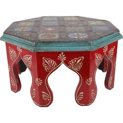 Guru-Shop Dekoobjekt Bemalter kleiner Tisch mit Fliesenmosaik - rot..