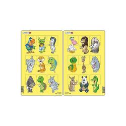 Larsen Puzzle 2er-Set Rahmen-Puzzle, 9 Teile, 28x18 cm, Tiere, Puzzleteile