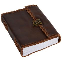 Gusti Leder Notizbuch Lacy, Notizbuch Blanko Skizzenbuch Tagebuch DIN B6 Braun Leder