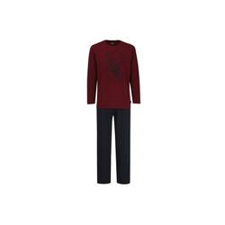 Pyjama Herren Schlafanzug 2-tlg. Set - Pyjama, lang, rot XL
