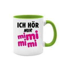 Shirtracer Tasse Ich hör nur mi mi mi - schwarz/pink - Sprüche - Tasse zweifarbig - Tassen, pinke tasse