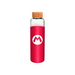 Super Mario Trinkflasche Super Mario Glasflasche mit Silikon (585 ml)