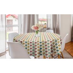 Abakuhaus Tischdecke Kreis Tischdecke Abdeckung für Esszimmer Küche Dekoration, Regenschirm Karikatur Sonnenschirme Muster