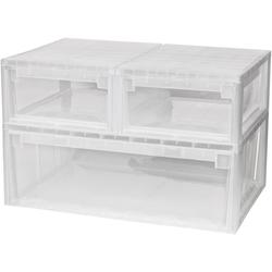 KREHER Aufbewahrungsbox 2x 12 Liter, 1x 36 Liter, mit Schubladen 3er Set weiß