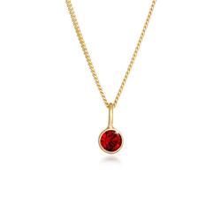 Elli Kette mit Anhänger Solitär Rund Kristall Rot 925 Silber, Kristall Kette goldfarben