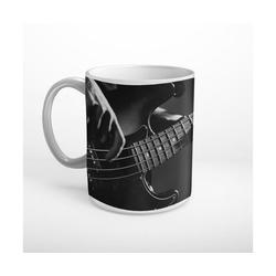 DesFoli Tasse Bass Bassgitarre Musiker Schwarz Weiß T1202, Keramik