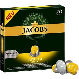 Jacobs Kaffeekapseln Lungo Leggero, Intensität 4 von 12, 200 Nespresso®* kompatible Kapseln, 10 x 20 Getränke