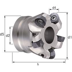 Planfräser/Kopierfräser Z=5 Durchmesser 63 mm. d2 = 27 mm. Z=5