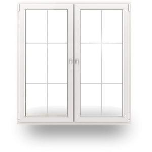 JeCo Balkontür Terrassentür Tür - 2-Flügler Sprossen 6 Felder - 2000 x 2000mm - 2-Fach-Verglasung - 60mm Rahmen - Sondermaße möglich
