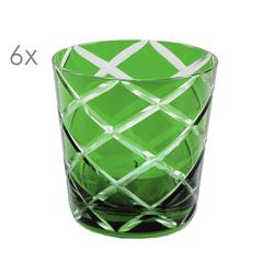 EDZARD Gläser-Set Dio Grün, Kristallglas, 6er-Set Wassergläser, handgeschliffene Überfanggläser für Gin, Longdrinkgläser-Set, bunte Trinkgläser, 140 ml