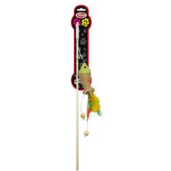 Katzenspielzeug ROD-WOOD-4 Katzenangel 40cm mit Fisch und Feder