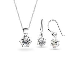 Elli Ohrring und Ketten Set 925 Sterling Silber Kristalle, Kristall Ohrhänger