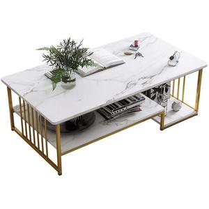 JIAGU Speichertisch Modernes Rechteck-Kaffee-Akzent-Tisch mit Faux-Marmor-Tisch- und Gold-Metallrahmen, Anzug für Wohnzimmer, Home Office (Color : White, Size : 120x60x42cm)
