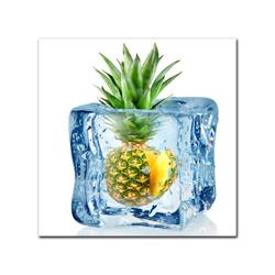 Bilderdepot24 Leinwandbild, Leinwandbild - Eiswürfel Ananas 80 cm x 80 cm