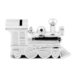 Brillibrum Spardose Spardose Lok Zug versilbert anlaufgeschützt Kindersparbüchse LokomotiveSilber Eisenbahn Bahn