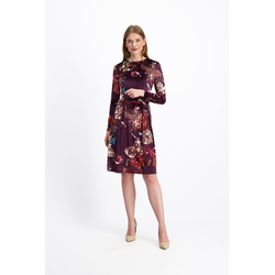 Lavard Weinrotes Kleid mit einem Blumenmotiv 84456