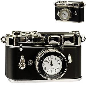 alles-meine.de GmbH kleine - Tischuhr / Miniatur - Uhr - Kamera - Spiegelreflexkamera - aus Metall - 7,8 cm - batteriebetrieben - Analog - Batterie - schwarz - Zahlen Stehuhr / S..
