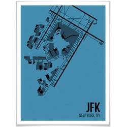Wall-Art Poster Wandbild JFK Grundriss New York, Grundriss (1 Stück), Poster, Wandbild, Bild, Wandposter 50 cm x 60 cm x 0,1 cm