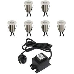 VBLED LED Einbaustrahler Boden-Einbaustrahler 0,3W Mini LED / kaltweiß / IP67 / aus robustem Edelstahl (befahrbar) in