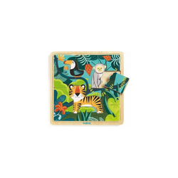 DJECO Puzzle Rahmenpuzzle Jungle, 15 Teile, Puzzleteile
