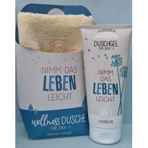"""LaVida Relax-Geschenk-Set, Wellness Dusche,""""Nimm das Leben leicht"""", Duschgel- zertifizierte Naturkosmetik mit einem Handtuch aus Bio-Baumwolle"""