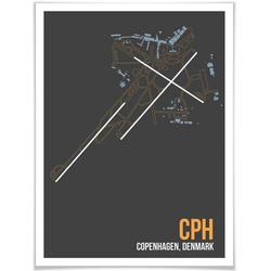 Wall-Art Poster Wandbild CPH Grundriss Kopenhagen, Grundriss (1 Stück), Poster, Wandbild, Bild, Wandposter 60 cm x 80 cm x 0,1 cm