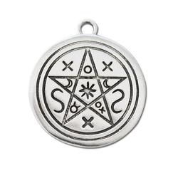 Adelia´s Amulett Siegel der Hexerei (versilbert), Planeten Pentagramm - Verbindung mit der Erde und dem Geist