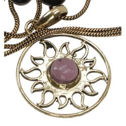 Guru-Shop Kettenanhänger Amulett mit Kette, Sonnenamulett, Tribalkette -..