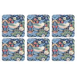 Pimpernel Strawberry Thief Untersetzer 6er-Pack Blau