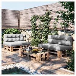 Vicco Palettenkissen Palettenkissen-Set Sitzkissen Rückenkissen 15 cm hoch Palettenmöbel grau grau