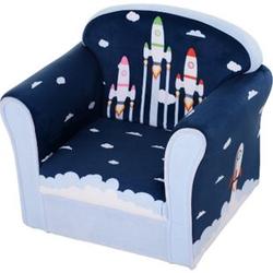 HOMCOM Kindersessel mit Raketenmotiv blau 50 x 39 x 44 cm (BxTxH)   Minisessel Polstersessel für Kinder Kindermöbel