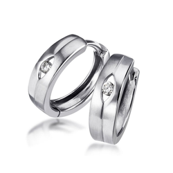 goldmaid Paar Creolen Silber 925/- Creolen matt und glänzend Zirkonia weiß