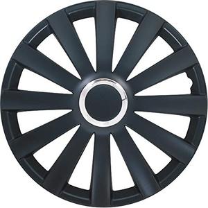 TSS Handel Radkappen Radzierblenden 4 Stück 17 Zoll Schwarz + Chrom Ring